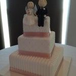 vintage pink ribbon with cute cake toppers