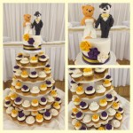 yeloow, purple and white cupcakes